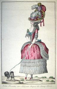 TOILETTE FLORENTINE AVEC LELEGANT CHAPEAU DES CHAMPS ELYSEE Gravure du XVIIIe siècle rehaussée à laquarelle à lépoque. Filigrane en forme semble,t,il de
