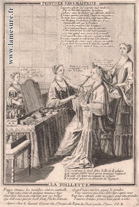 Dame à sa toilette se maquillant et se faisant peigner XVIIe - XVIIIe siècles